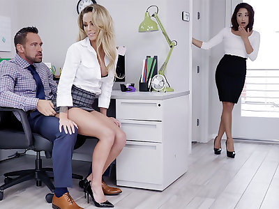 Manager have three-way sexual intercourse with workers