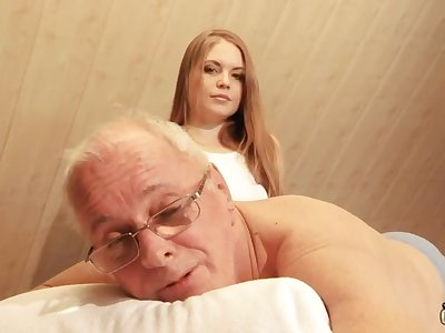 Alluring hot young masseuse is unequivocally potent with riding cock of grey revilement