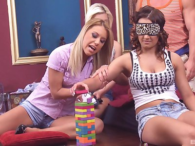 Cathy Heaven and Nikky Thorne sprayed with cum in an orgy