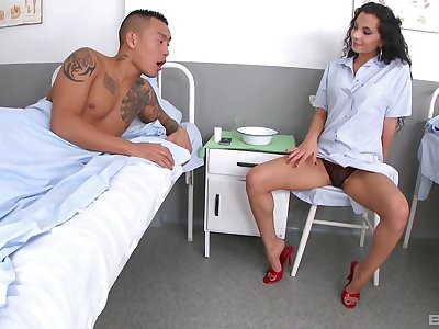 Long legged bombshell Janet Joy licks cum off of her slender feet