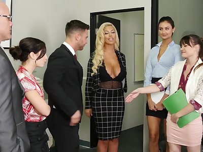 Lovely office cutie Alison Rey greets their way BF with dazzling blowjob