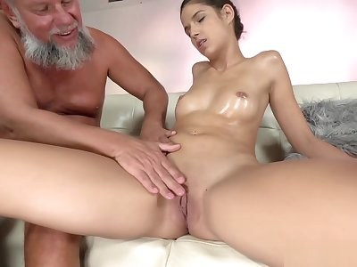 Grandpa oiling and fucking a boyhood shaved pussy hard