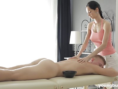 Slender masseuse with big tits Emma L gets intimate with team a few of her clients