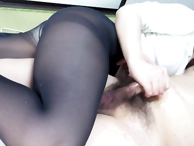 Black Pantyhose Face Sitting Handjob Except