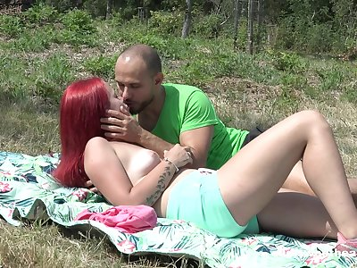 Tiffany Love added to her fellow head out to a sunny field for hot sex